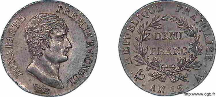 N° v10_0020 Demi-franc Bonaparte premier Consul - An 12
