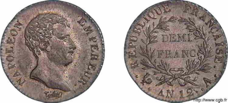 N° v10_0021 Demi-franc Napoléon Empereur, calendrier révolutionnaire - An 12