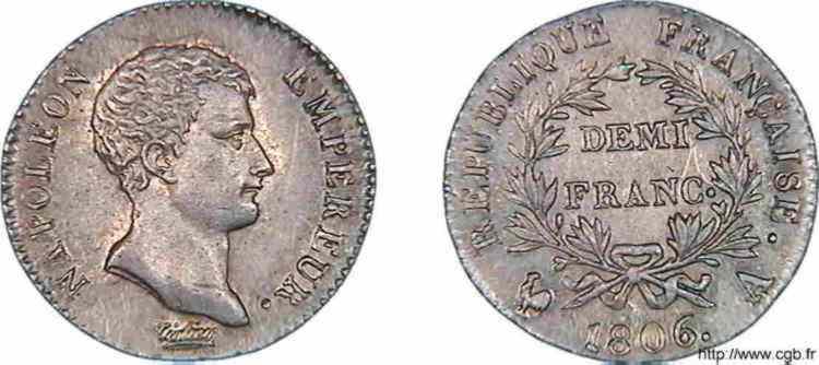 N° v10_0022 Demi-franc Napoléon Empereur, calendrier grégorien - 1806