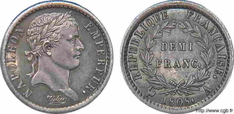 N° v10_0023 Demi-franc Napoléon Ier, tête laurée,  République française, Frappe d'épreuve (?) - 1808