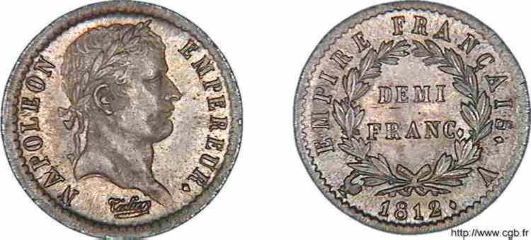 N° v10_0024 Demi-franc Napoléon Ier, tête laurée, Empire français - 1812