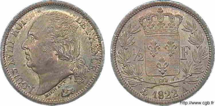N° v10_0026 1/2 franc Louis XVIII - 1822