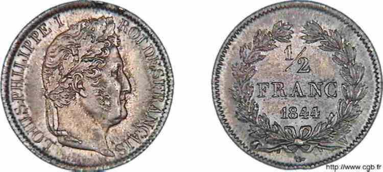 N° v10_0029 1/2 franc Louis-Philippe - 1844