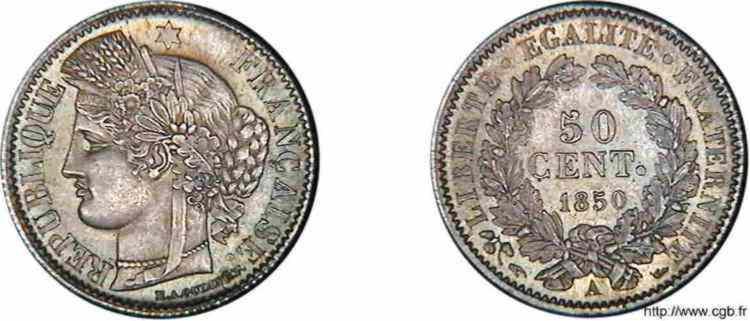 N° v10_0031 50 centimes Cérès - 1850