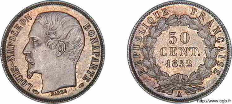 N° v10_0032 50 centimes Louis-Napoléon - 1852