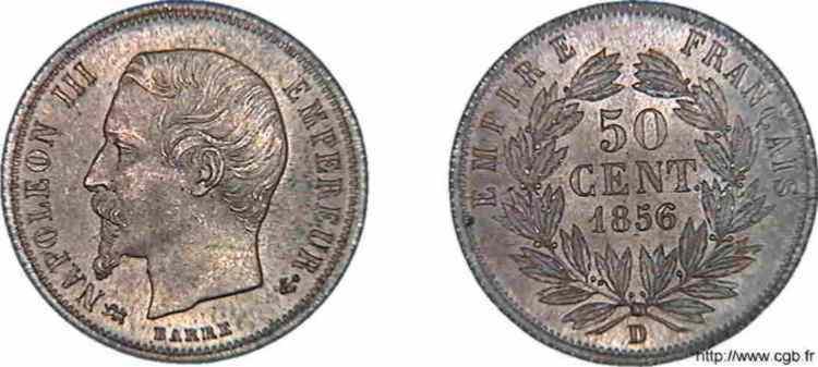 N° v10_0034 50 centimes Napoléon III, tête nue - 1856