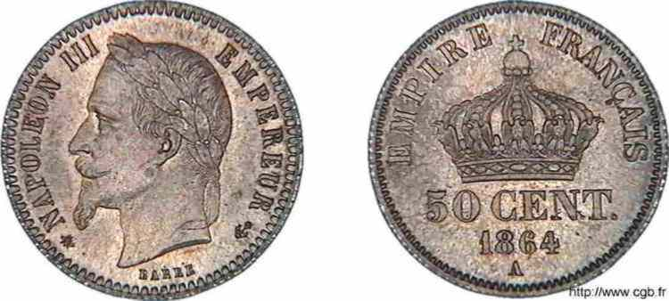 N° v10_0036 50 centimes Napoléon III, tête laurée - 1864