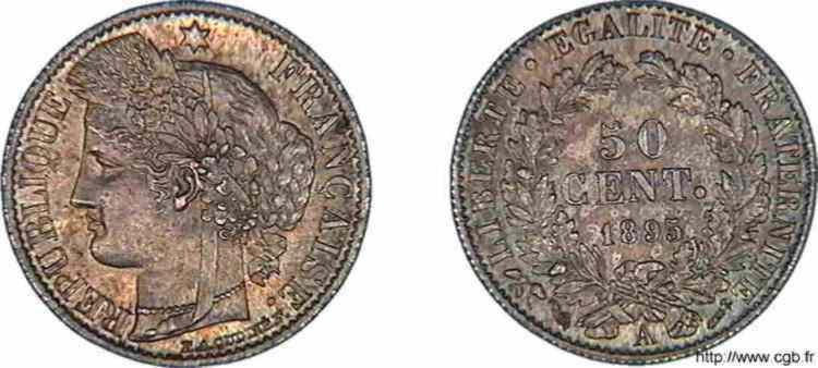 N° v10_0037 50 centimes Cérès - 1895