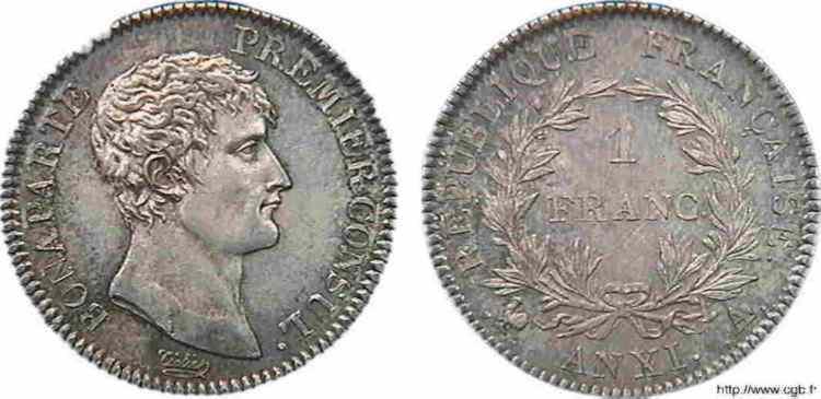 N° v10_0038 1 franc Bonaparte Premier Consul, Frappe d'épreuve (?) - An XI