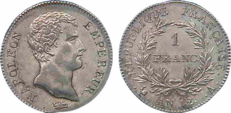 N° v10_0039 1 franc Napoléon Empereur, calendrier révolutionnaire - An 12