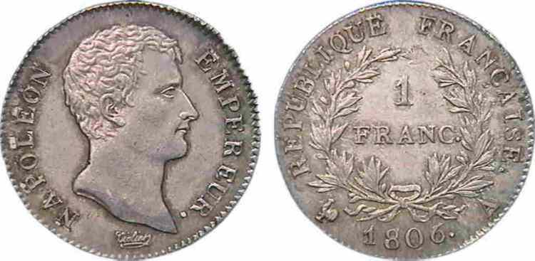 N° v10_0040 1 franc Napoléon Empereur, calendrier grégorien - 1806