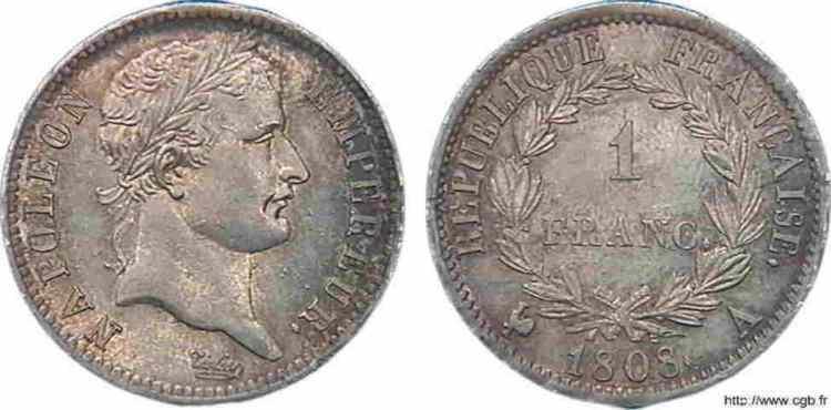 N° v10_0041 1 franc Napoléon Ier tête laurée, République française - 1808