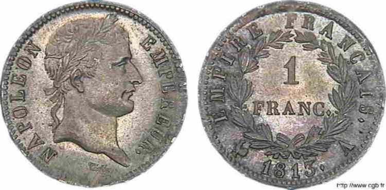 N° v10_0042 1 franc Napoléon Ier tête laurée, Empire français - 1813