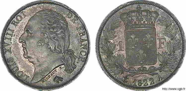 N° v10_0043 1 franc Louis XVIII - 1822