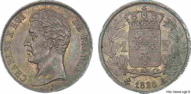 N° v10_0044 1 franc Charles X - 1826