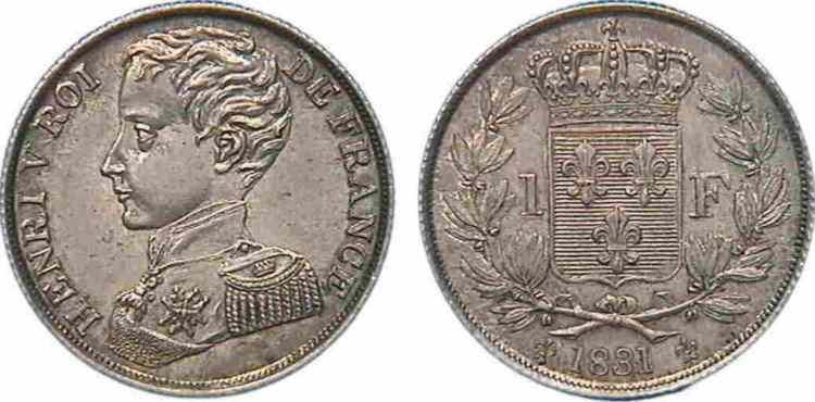N° v10_0045 1 franc HENRI V PRÉTENDANT - 1831