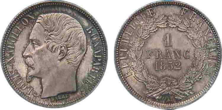 N° v10_0049 1 franc Louis-Napoléon - 1852