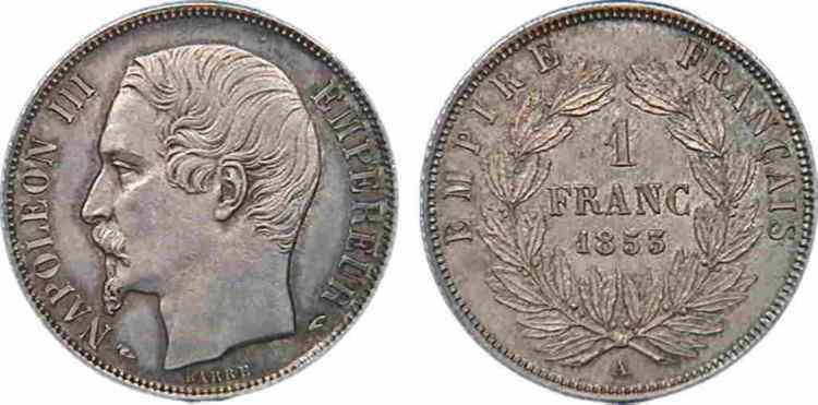 N° v10_0050 1 franc Napoléon III, grosse tête, couronne de laurier, Frappe d'épreuve - 1853