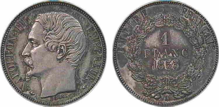N° v10_0051 1 franc Napoléon III, grosse tête, couronne composite de chêne et de laurier - 1853