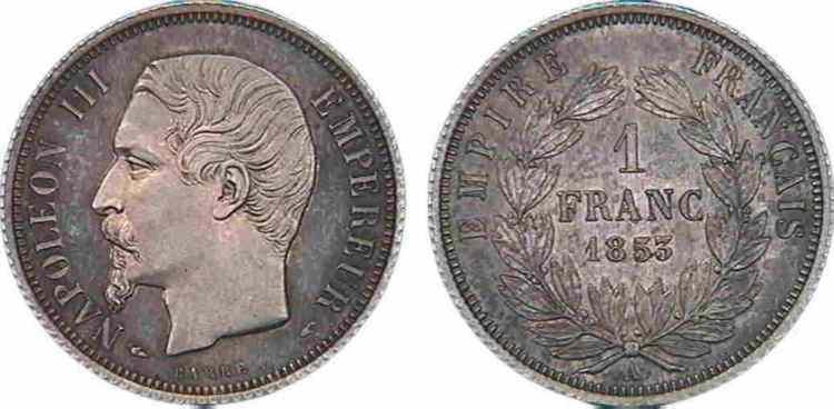N° v10_0052 1 franc Napoléon III, tête nue, listel large, Frappe d'épreuve - 1853