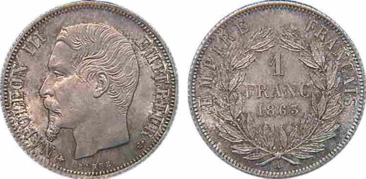 N° v10_0053 1 franc Napoléon III, tête nue - 1863