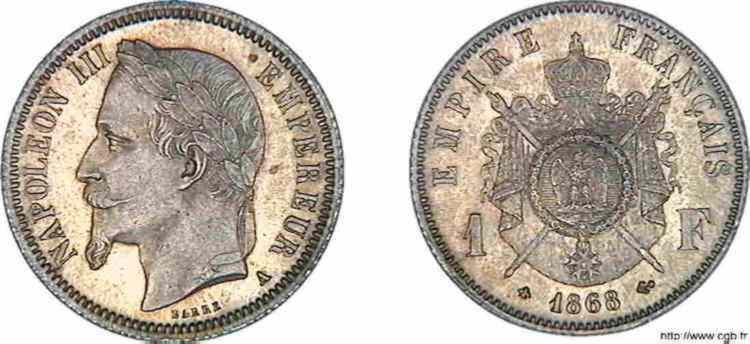 N° v10_0054 1 franc Napoléon III, tête laurée - 1868