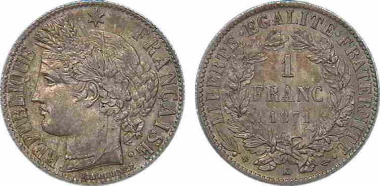 N° v10_0055 1 franc Cérès troisième République - 1871