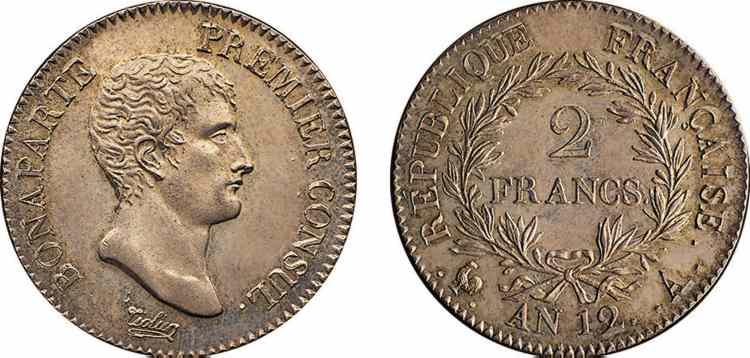 N° v10_0056 2 francs Bonaparte Premier Consul - An 12 (1803 - 1804 )