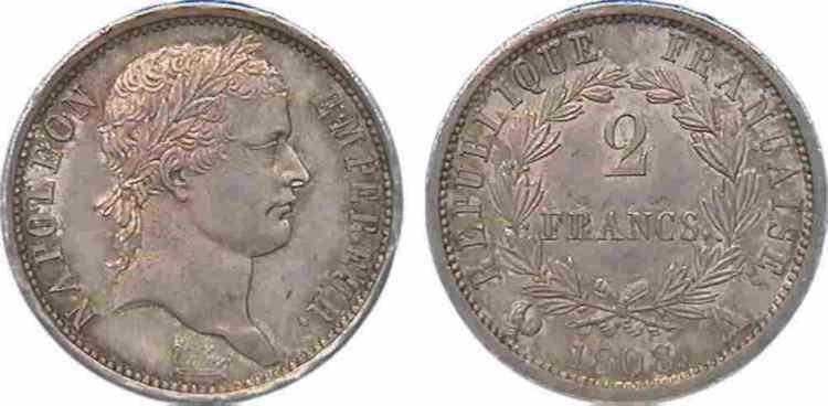 N° v10_0057 2 francs Napoléon Ier tête laurée, République française, Frappe d'épreuve (?) - 1808