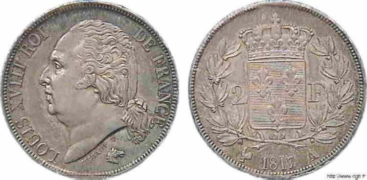 N° v10_0060 2 francs Louis XVIII - 1817
