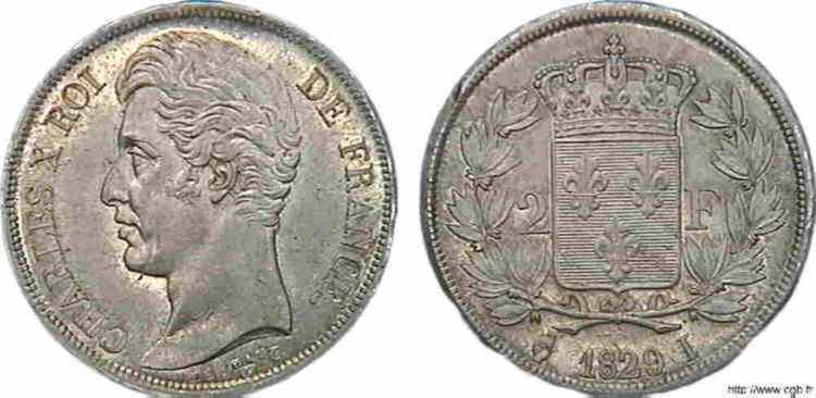 N° v10_0061 2 francs Charles X - 1829