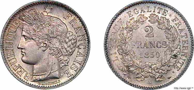 N° v10_0064 2 francs Cérès seconde République - 1850