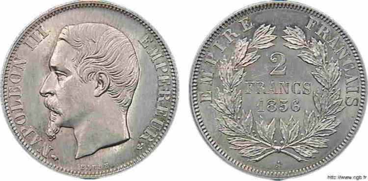 N° v10_0065 2 francs Napoléon III tête nue - 1856