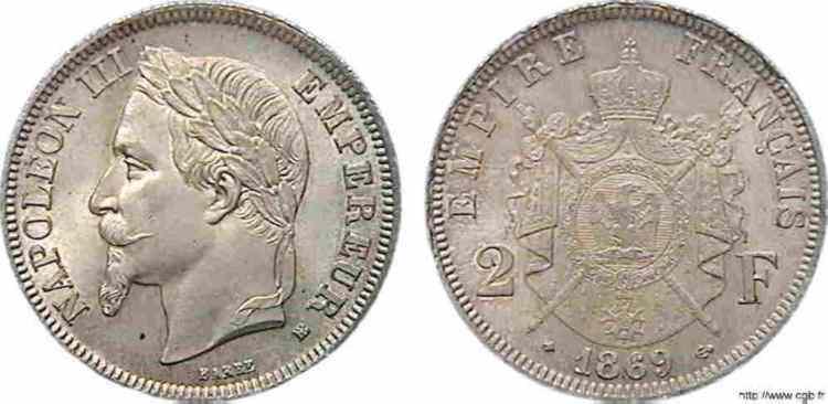 N° v10_0067 2 francs Napoléon III tête laurée - 1869