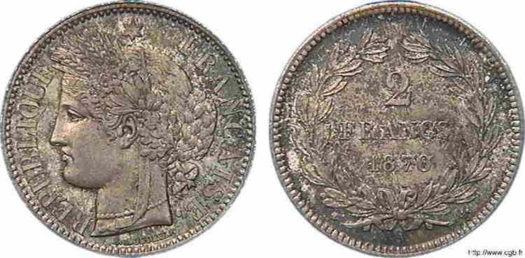 N° v10_0068 2 francs Cérès, sans légende - 1870