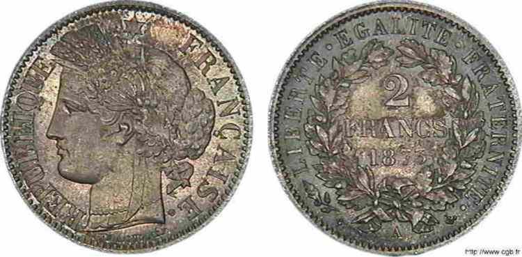 N° v10_0069 2 francs Cérès, avec légende, frappe d'épreuve (?) - 1873