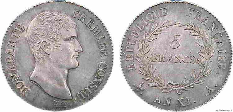 N° v10_0072 5 francs Bonaparte Premier Consul - An XI