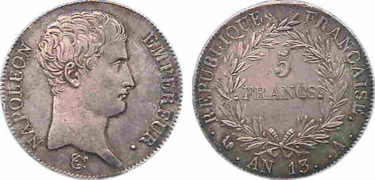 N° v10_0074 5 francs Napoléon Empereur calendrier révolutionnaire - An 13
