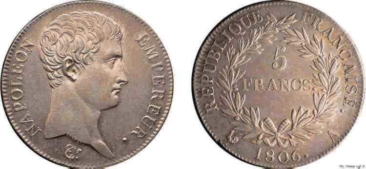 N° v10_0075 5 francs Napoléon Empereur, calendrier grégorien - 1806