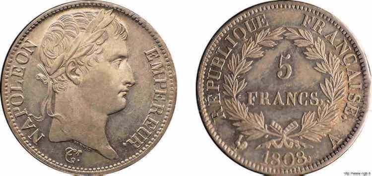 N° v10_0076 5 francs Napoléon Empereur, République française - 1808