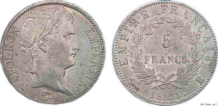 N° v10_0077 5 francs Napoléon Empereur, Empire français - 1811