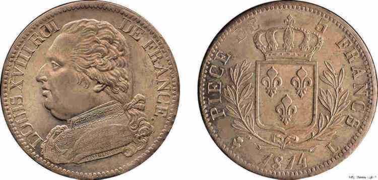 N° v10_0078 5 francs Louis XVIII buste habillé - 1814