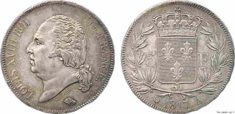 N° v10_0079 5 francs Louis XVIII tête nue - 1817