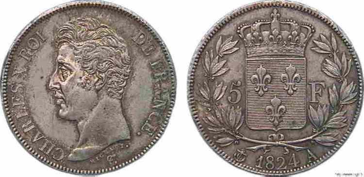 N° v10_0080 5 Francs CHARLES X 1er type - 1824