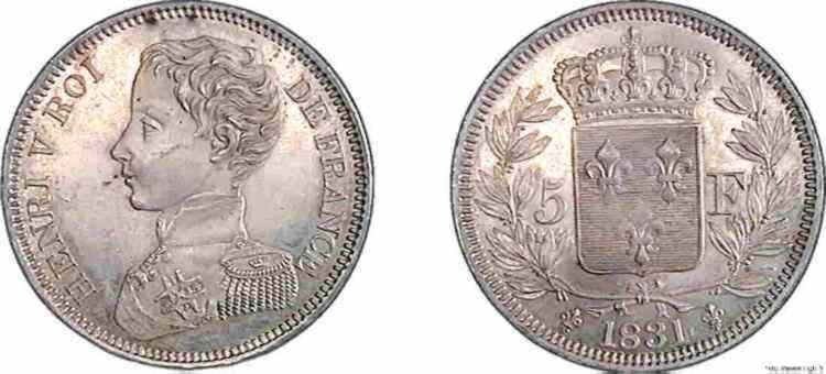 N° v10_0082 5 francs HENRI V PRÉTENDANT - 1831