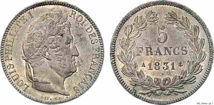 N° v10_0084 5 francs Louis-Philippe, Ier type Domard, tranche en relief - 1831