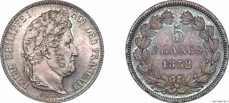 N° v10_0085 5 francs Louis-Philippe, IIe type Domard, Frappe d'épreuve - 1832