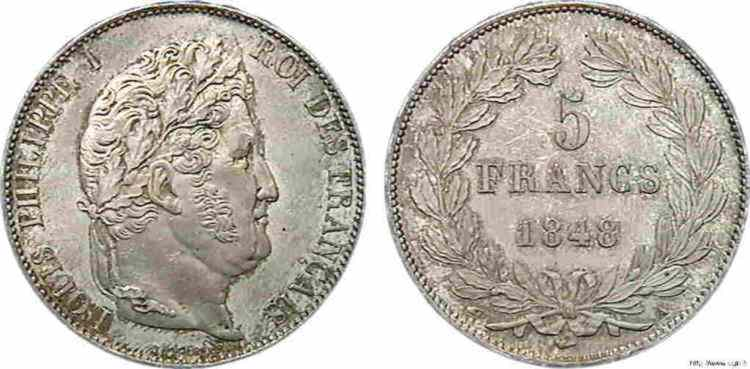 N° v10_0086 5 francs Louis-Philippe, IIIe type Domard - 1848