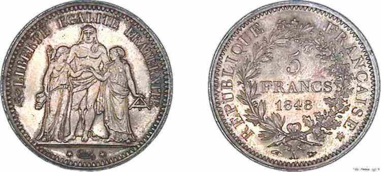 N° v10_0087 5 francs Hercule seconde République - 1848