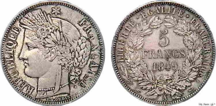 N° v10_0088 5 francs Cérès seconde République - 1849